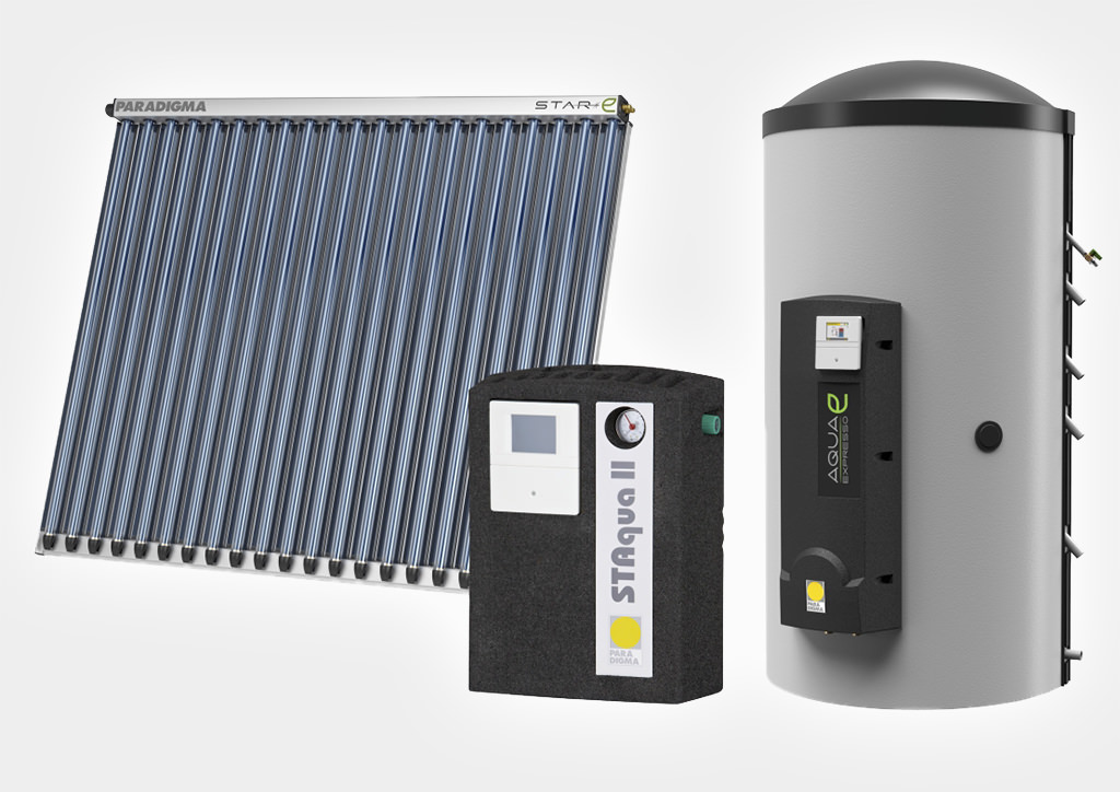 Solarkollektoren mit Röhren und Pufferspeicher als Paket